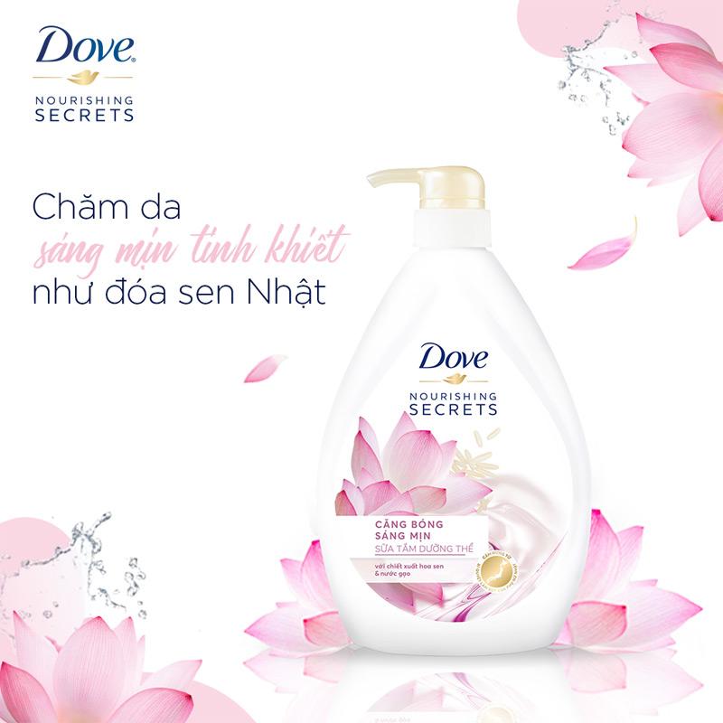 Sữa Tắm Dove Căng Bóng Sáng Mịn Từ Hoa Sen & Nước Gạo 530g