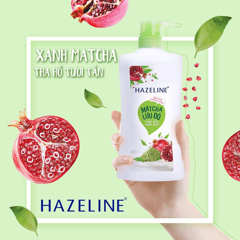 Sữa Tắm Hazeline Rạng Ngời Thuần Khiết Matcha & Lựu Đỏ 670g