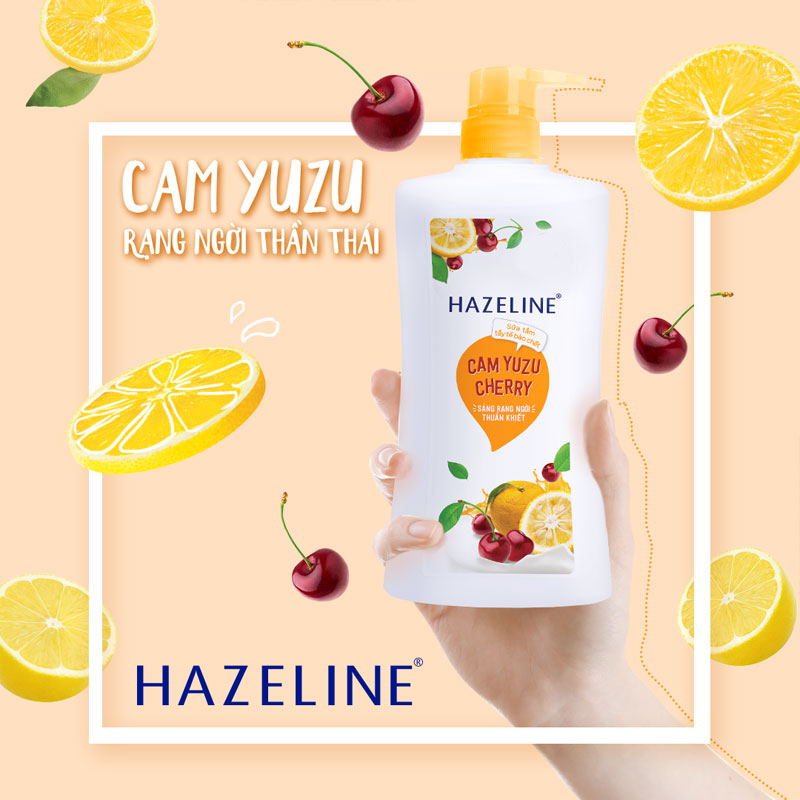 Sữa Tắm Hazeline Tẩy Da Chết Sáng Da Cam Yuzu & Cherry 670g