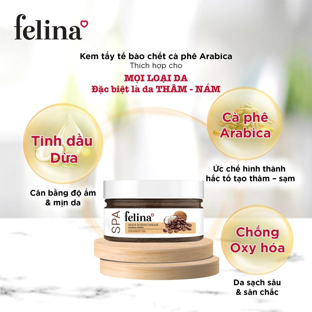 Kem Tẩy Tế Bào Chết Felina Hạt Cà Phê & Tinh Dầu Dừa 220g