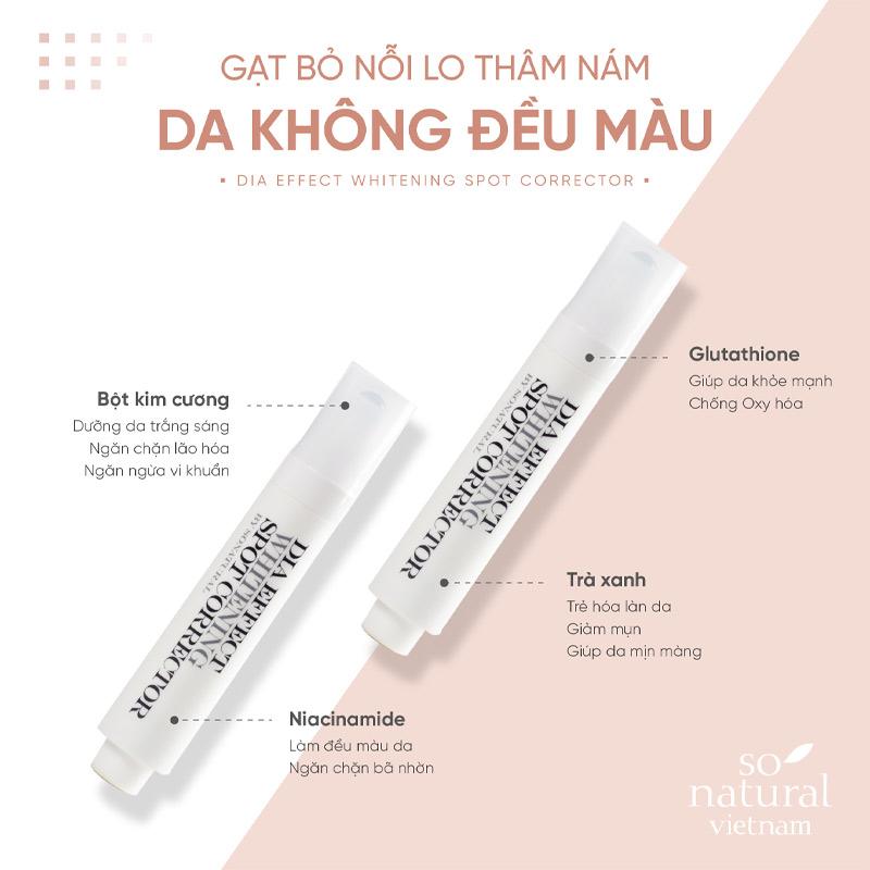 Thanh Lăn So'Natural Hỗ Làm Giảm Nám, Tàn Nhang Dia Effect Whitening Spot Corrector