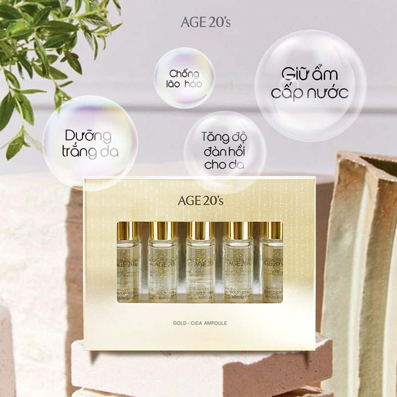 Hiệu quả Tinh Chất Age20's Gold Cica Ampoule 10ml x 5
