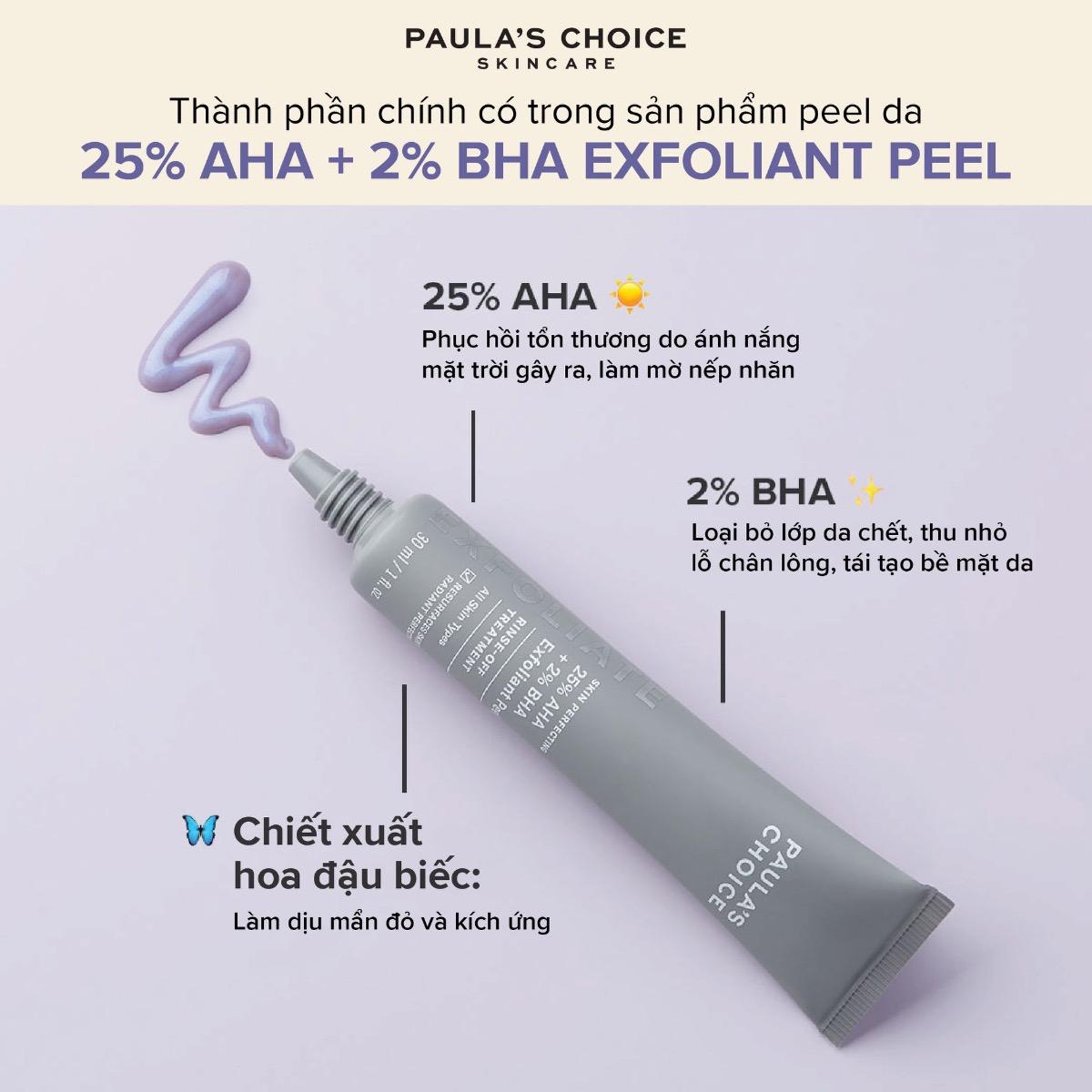 Thành phần Tinh Chất Paula's Choice 25% AHA + 2% BHA Tái Tạo Da 30ml