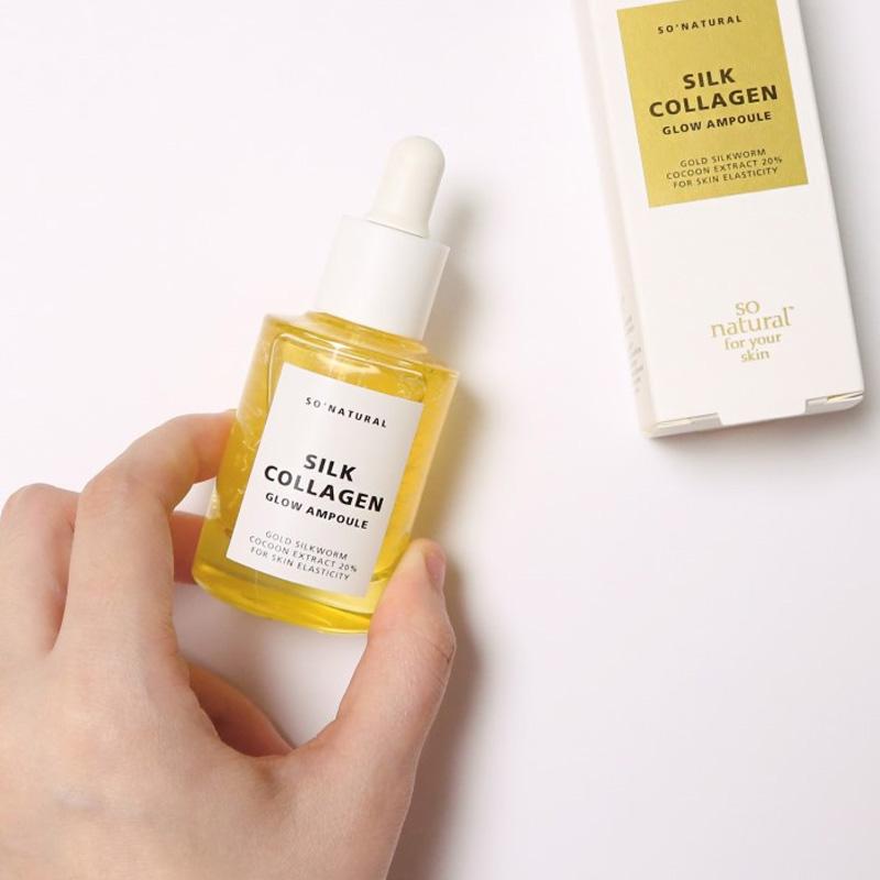 Packaging Tinh Chất So'Natural Dưỡng Da Căng Bóng & Ngừa Lão Hoá Silk Collagen Glow Ampoule 30ml
