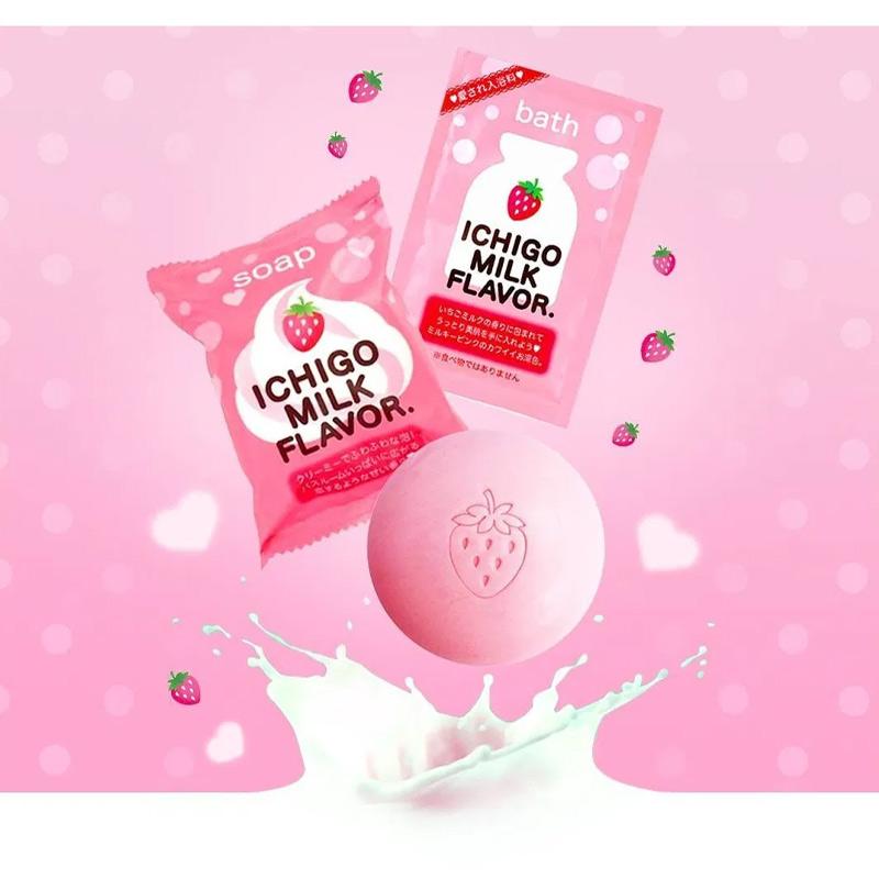 Xà Phòng Tắm Pelican Chiết Xuất Sữa Và Dâu Tây Ichigo Milk Flavor Body Soap 80g