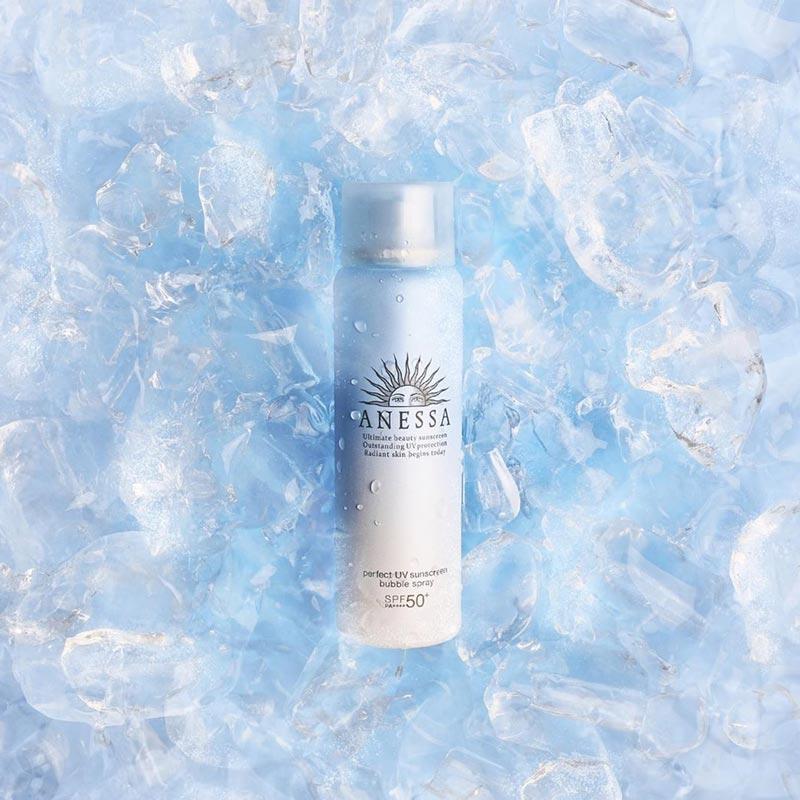 Xịt Chống Nắng Anessa Dạng Bọt Bảo Vệ Toàn Thân Perfect UV Sunscreen Bubble Spray Spf 50+ Pa++++ 60g