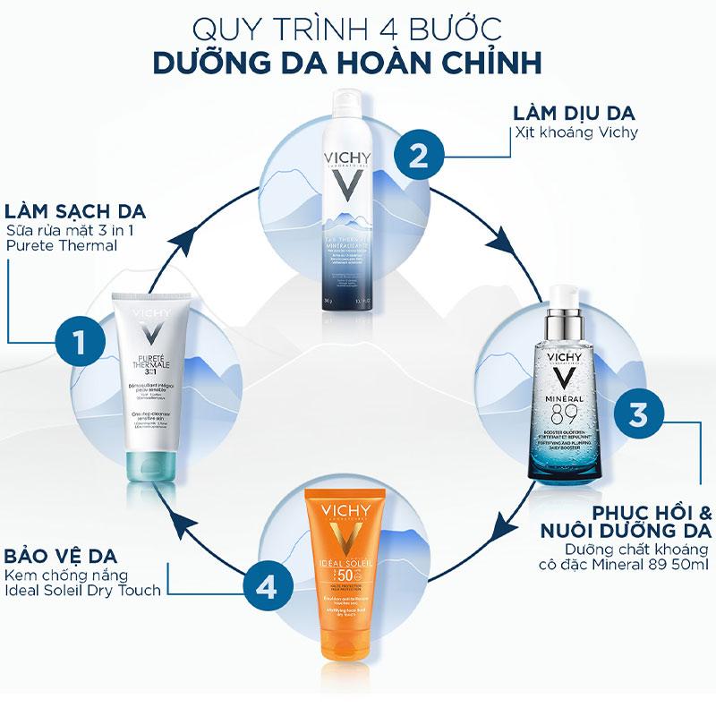 Qui trình dưỡng da với Xịt Khoáng Dưỡng Da VICHY Eau Thermale Spa Water