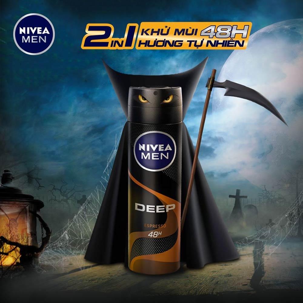 Xịt Khử Mùi Cho Nam Nivea Men Than Đen Hoạt Tính Hương Espresso Deep Black Carbon Espresso