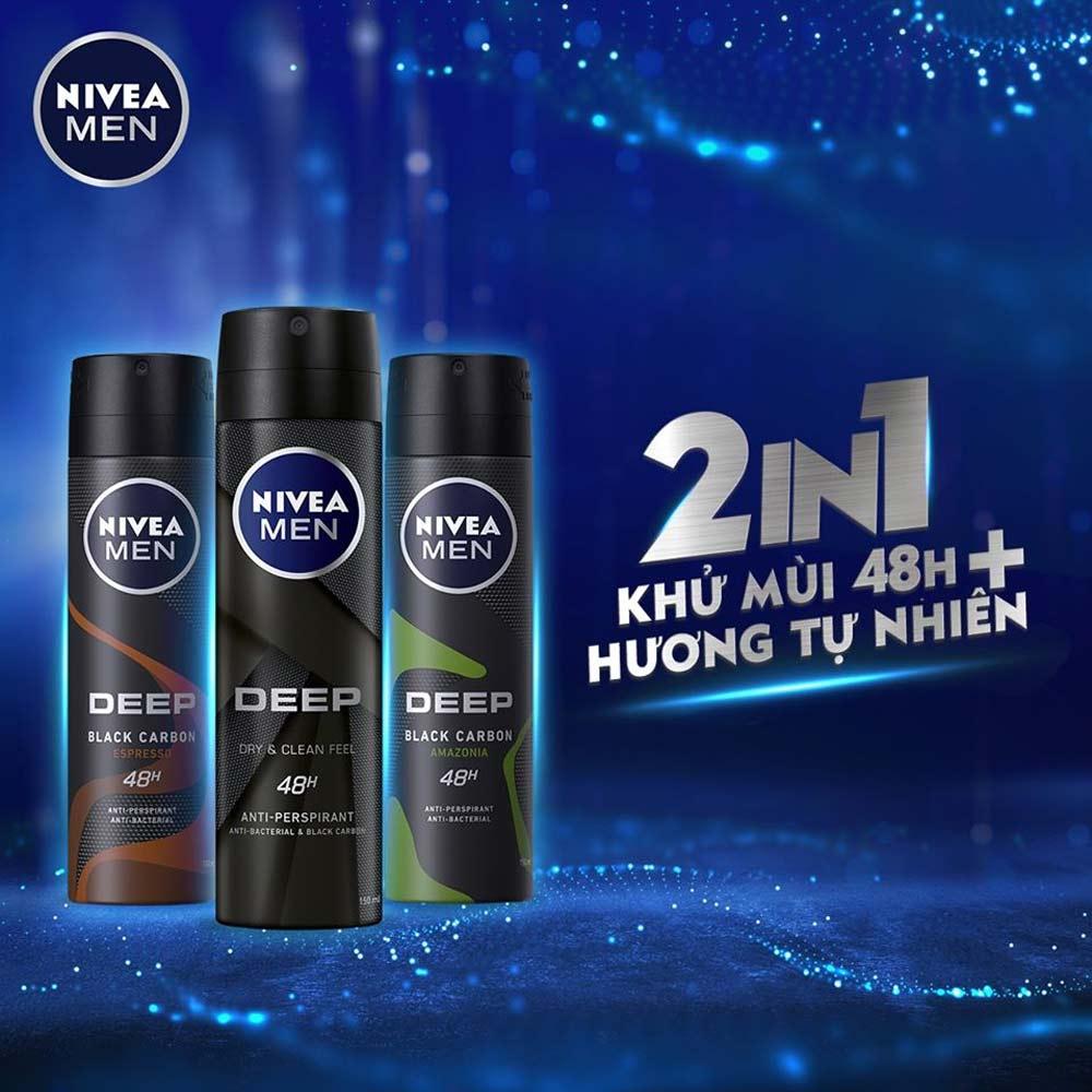 Xịt Khử Mùi Cho Nam Nivea Than Hoạt Tính Deep Black Charcoal