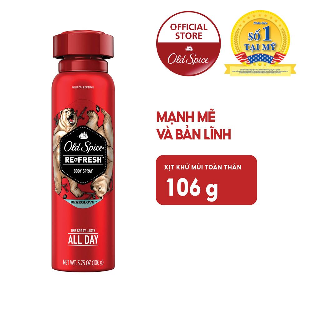 Xịt Khử Mùi Cho Nam Old Spice Bearglove Hương Cam Và Bạc Hà 106g