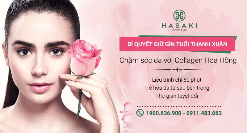 Chăm sóc da từ Collagen hoa hồng khôi phục làn da sỉn màu, cháy nắng, giúp da căng mịn, sáng khỏe, chống lão hóa da. Hasaki chất lượng cho tất cả