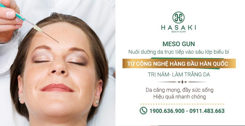 Công nghệ MesoGun nuôi dưỡng da từ sâu dưới lớp biểu bì, điều trị da dưỡng trắng, căng mịn, điều trị nám, trẻ lão hóa hiệu quả an toàn nhanh chóng. Hasaki chất lượng cho tất cả