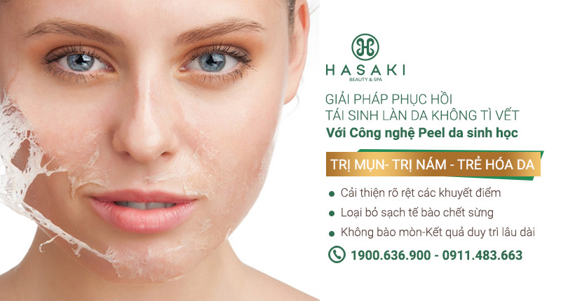 Peel Da Sinh Học giúp da mịn màng, căng bóng,tái tạo và se khít lỗ chân lông,  Hasaki chất lượng cho tất cả