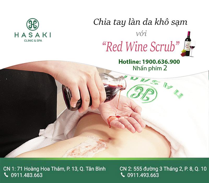 Red Wine Body Scrub giúp làn da sĩn màu trở nên tươi tắn ngay lập tức.