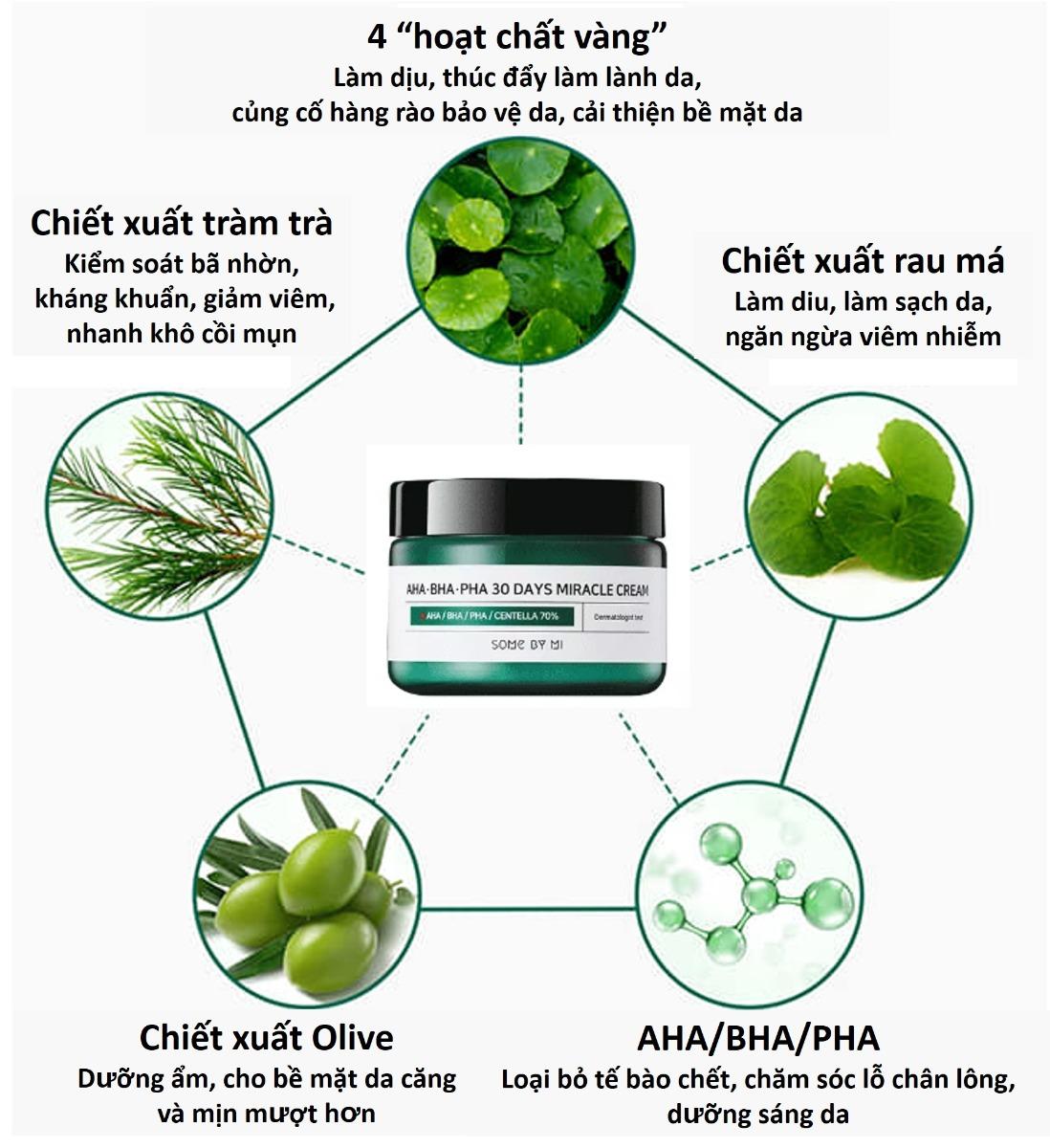 Thành phần Kem Dưỡng Some By Mi Giảm Mụn AHA-BHA-PHA 30 Days Miracle Cream